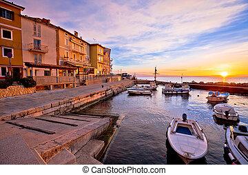 Moscenicka draga village waterfront at dawn, Kvarner bay of...