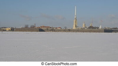 Peter and Paul Fortress in winter. Petersburg. Russia. Pan.