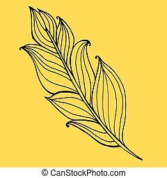 Hand drawn doodle zentangle feather isolated from background.