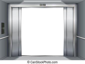 Open the elevator doors - Open the door of the freight...