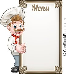 Cartoon Chef Menu - Cartoon chef or baker character giving...