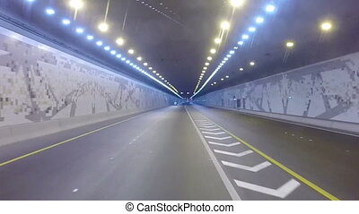 Driving On Highway Tunnel, Abu Dhabi, UAE