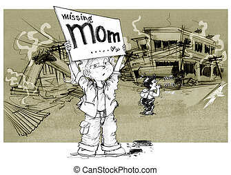 After war children show word missing mom - Cartoon character...