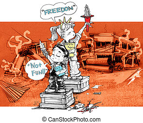 Children freedom acting symbol after war - Cartoon character...