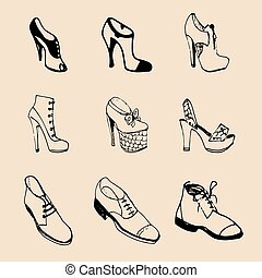 Vector man and woman shoes set. Footwear collection in sketch style.