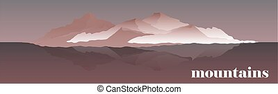 Panorama vector illustration of mountain ridges. Mountaineering and Traveling Vector Illustration. Landscape with Mountain Peaks and water. Extreme Sports, Vacation camping and Outdoor Recreation Concept. Mountains expedition