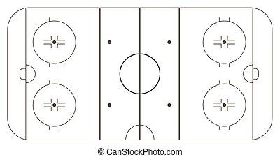 Ice hockey rink, standart markup. Vector illustration