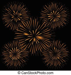 Golden realistic fireworks on the black background, Vector...
