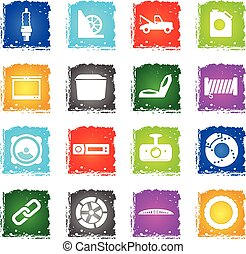 Car shop icons set - Car shop silhouette simply icons in...