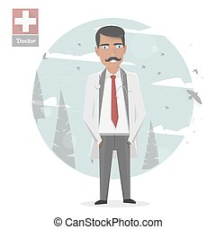 Medical staff. Vector medicine illustration. Doctor in a white lab coat. The character isolated.