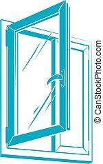 Vector plastic window icon - Vector pvc plastic window...