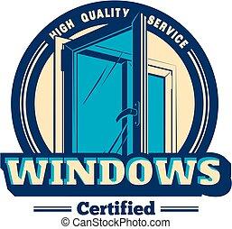 Vector plastic window logo - Vector logo or emblem pvc...