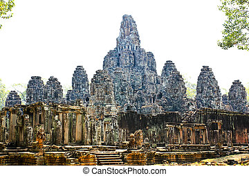 Ancient Bayon temple, Angkor Thom , the most popular tourist...