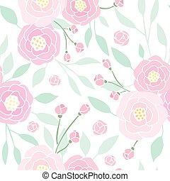 Cute pink peony seamless pattern.