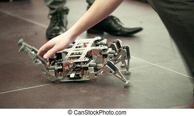 Broken hexapod DIY robot. 4K shot - Broken hexapod DIY...