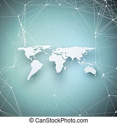World map in perspective with shadow on blue. Abstract global network connections, geometric design technology concept background. Chemistry pattern, molecule structure, connecting lines and dots.