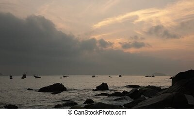 Ocean Sunrise Scene Vietnam With Sound - A sunrise over the...