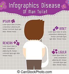 Disease of man toilet infographics illustration