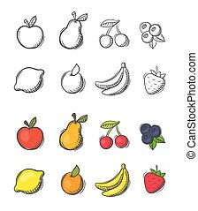 Collection of freehand doodled vector fruit icons -...