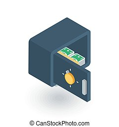 open safe, banking money security, cash isometric flat icon. 3d vector