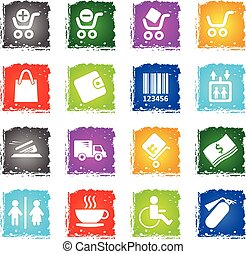 Shopping icon set - Shopping simply symbols in grunge style...