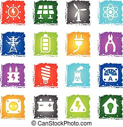 electricity icon set - electricity web icons in grunge style...