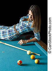 Laying on a pool table