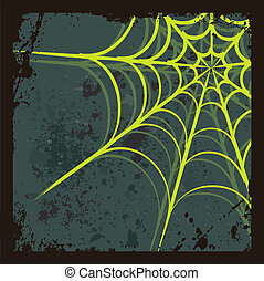 Halloween background with spiders web - Halloween background...