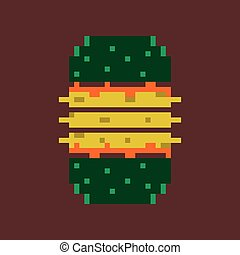 pixel icon in flat style burger