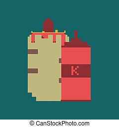 pixel icon in flat style French hot dog and ketchup