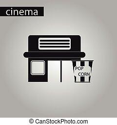 black and white style icon building cinema popcorn