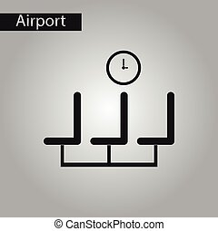 black and white style icon airport waiting room - black and...