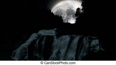 VFX Shot - Huge Super Moon Above A Huge Waterfall With...