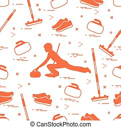 Vector pattern of different objects curling sport....