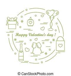 Cute vector illustration: gifts, balloons, stemware, candle,...