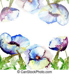 Template for card with blue flowers