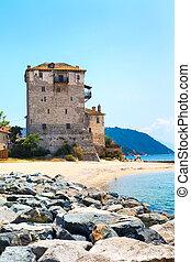 Ouranoupolis Tower on Athos peninsula in Halkidiki, Greece