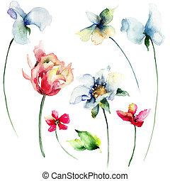 Set of flowers - Set of wild flowers, watercolor...
