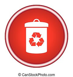 Litter sign illustration. White icon in the red square.