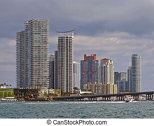Miami Beach Luxury Condo Skyline - Modern luxury Miami Beach...
