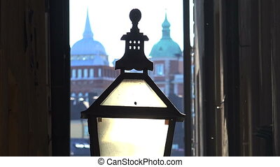 The old street lamp in Stockholm. Sweden.
