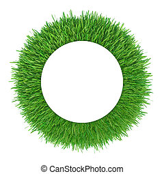 Green grass frame. White circle copy space