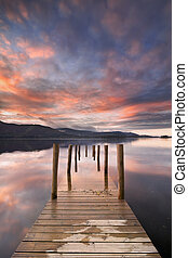 Flooded jetty in Derwent Water, Lake District - A flooded...