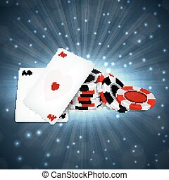 Two aces with chips - Casino background. Two aces with chips...
