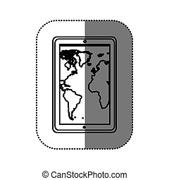 figure map in the smarphone icon, vector illustraction...