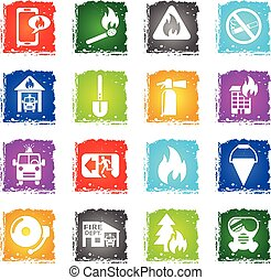 fire brigade icon set - fire brigade web icons in grunge...