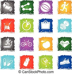 Set of icons on fitness. - Fitness simply vector symbol in...