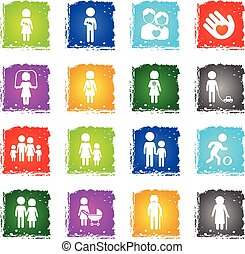 Family simply icons - Family simply symbols in grunge style...