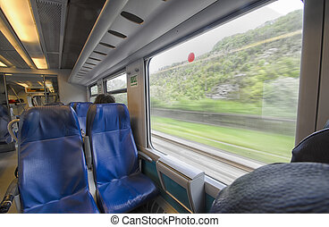 Point of view of a passenger on the train