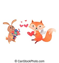 Bunny with Bouquet of Flowers and Fox with Wings - Lovely...